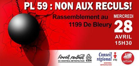 Démonstration pour la loi 59 à Montréal
